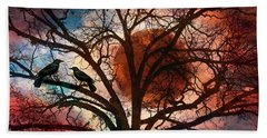 Blackbirds At Dusk Hand Towel by Debra and Dave Vanderlaan
