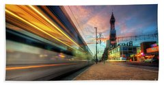 Bath Towel featuring the photograph Blackpool Tram Light Trail by Yhun Suarez