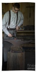 Blacksmith At Work Hand Towel by Liane Wright