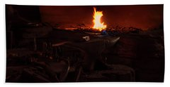 Bath Towel featuring the digital art Blacksmith Shop by Chris Flees