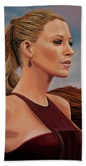Blake Lively Painting Bath Towel by Paul Meijering
