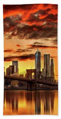 Blazing Manhattan Skyline Hand Towel by Az Jackson