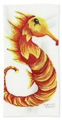 Hand Towel featuring the painting Blazing Seahorse by Darice Machel McGuire