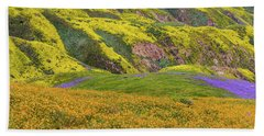 Bath Towel featuring the photograph Blazing Star On Temblor Range by Marc Crumpler