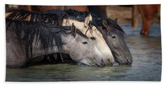 Blended Color Family Of Wild Horses Hand Towel