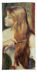 Blonde Girl Combing Her Hair Hand Towel