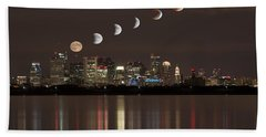 Blood Moon Lunar Eclipse Over Boston Massachusetts Hand Towel