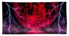 Blood Moon Over Mist Lake Hand Towel by Naomi Burgess