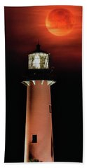 Blood Moon Rising Over Jupiter Lighthouse In Florida Hand Towel
