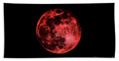 Hand Towel featuring the photograph Blood Red Moonscape 3644b by Ricardos Creations