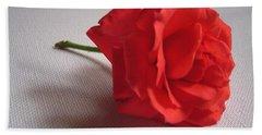 Blood Red Rose Bath Towel