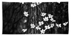 Blooming Dogwoods In Yosemite Black And White Hand Towel