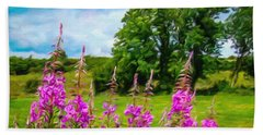 Hand Towel featuring the digital art Blooming Fireweeds In Summer by James Truett
