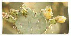 Blooming Prickly Pear Cactus Bath Towel