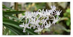 Blooming White Flower Spike Bath Towel