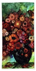 Blooms And Black Onyx Hand Towel
