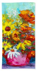 Colorful Wildflowers, Abstract Floral Art  Hand Towel