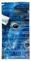 Blu Bison Hand Towel by Patty Sjolin