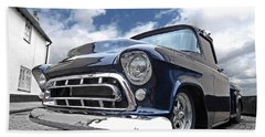 Blue 57 Stepside Chevy Hand Towel