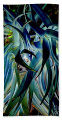 Blue Abstract Art Lorx Hand Towel by Rebecca Margraf