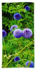 Blue Allium Flowers Bath Towel