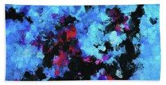 Blue And Black Abstract Wall Art Bath Towel by Ayse Deniz
