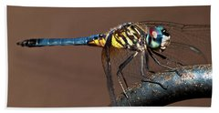 Blue And Gold Dragonfly Bath Towel
