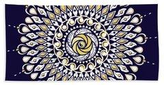 Hand Towel featuring the digital art Blue And Gold Lens Mandala by Deborah Smith