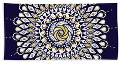 Bath Towel featuring the digital art Blue And Gold Lens Mandala by Deborah Smith