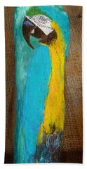 Blue And Gold Macaw Bath Towel by Ann Michelle Swadener
