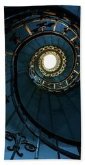 Bath Towel featuring the photograph Blue And Golden Spiral Staircase by Jaroslaw Blaminsky