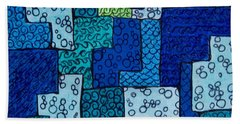 Bath Towel featuring the drawing Blue And Green Abstract 2 by Megan Walsh