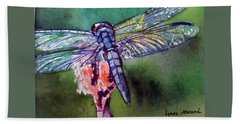 Blue And Green Dragonfly Bath Towel