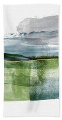 Blue And Green Minimalist Landscape Art By Linda Woods Bath Towel