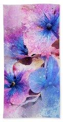 Blue And Purple Flowers Bath Towel by Judi Saunders