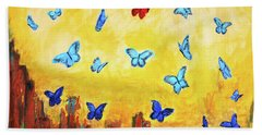 Blue And Red Butterflies Bath Towel by Haleh Mahbod