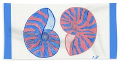 Blue And Rose Sea Shells Bath Towel
