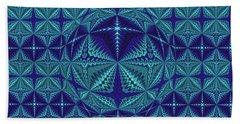Blue And Turquoise Symmetrical Pattern, Kaleidoscope Hand Towel
