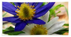 Blue And White Anemones Hand Towel