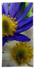 Blue And White Anemones Bath Towel