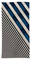 Blue And White Diagonals Hand Towel