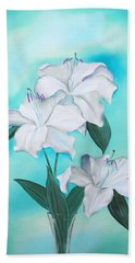 Hand Towel featuring the mixed media Blue And White by Elizabeth Lock