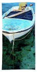 Blue And White Fishing Boat On The Adriatic - Rovinj, Croatia Hand Towel