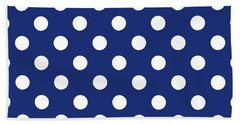 Hand Towel featuring the mixed media Blue And White Polka Dots- Art By Linda Woods by Linda Woods