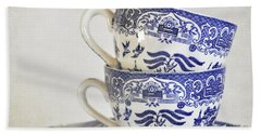 Blue And White Stacked China. Bath Towel