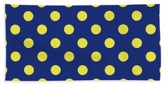 Hand Towel featuring the mixed media Blue And Yellow Polka Dots- Art By Linda Woods by Linda Woods