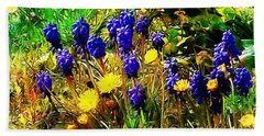 Blue And Yellow Wild Flower Medley Bath Towel