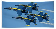 Hand Towel featuring the photograph Blue Angels Diamond Formation by Adam Romanowicz