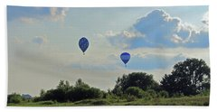 Hand Towel featuring the photograph Blue Balloons Over A Field by Angela Murdock