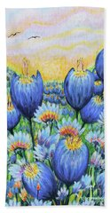 Bath Towel featuring the painting Blue Belles by Holly Carmichael
